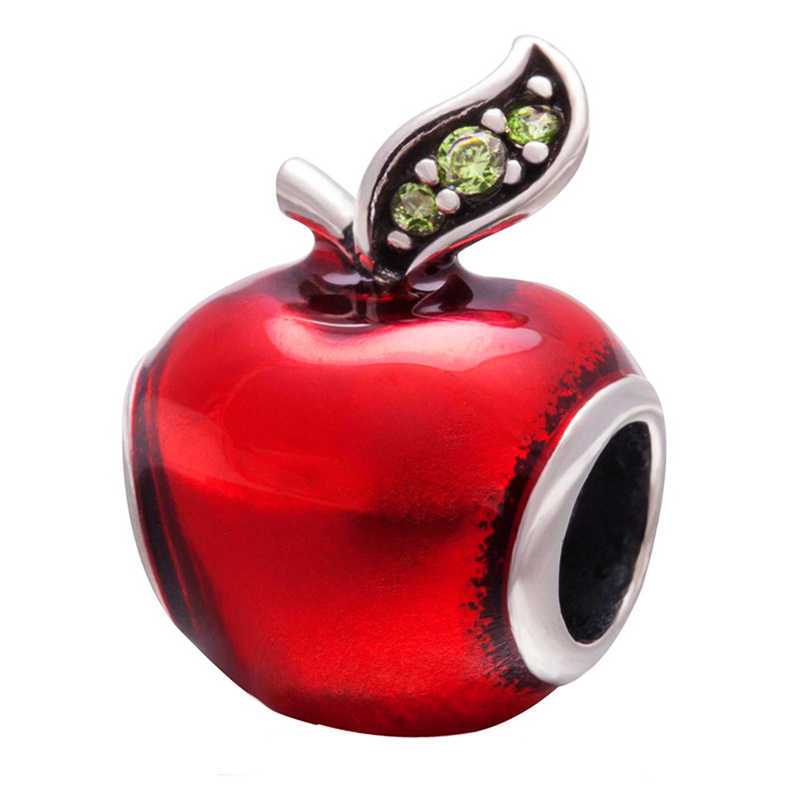 Free Shipping 1PC Silver Plated Red Enamel Snow White Apple Large Hole Beads Fit European Pandora Charm Bracelets & Necklaces