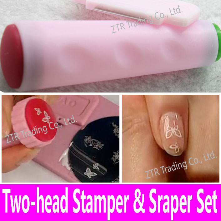 Nail Art Stamping Stamper Scraper Set Dual Head Decoration Toolkit ...