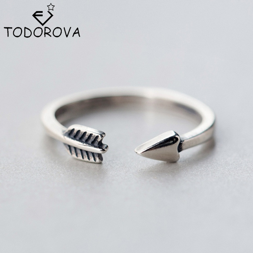 Todorova Love Gift New 925 Sterling Silver Ring for Women Girl Jewelry Cupid Arrow Rings Adjustable