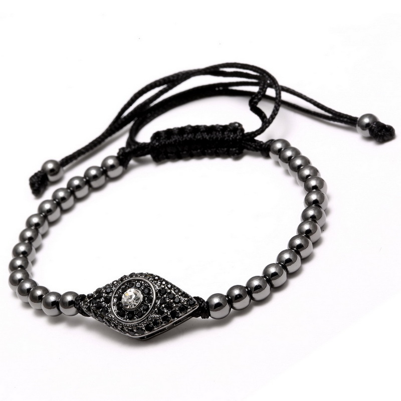 2017 New Classic Style Pave CZ Eye 4mm Copper Beads Braided Macrame Bracelets & Bangles Jewelry For Women and Men Jewelry Gift