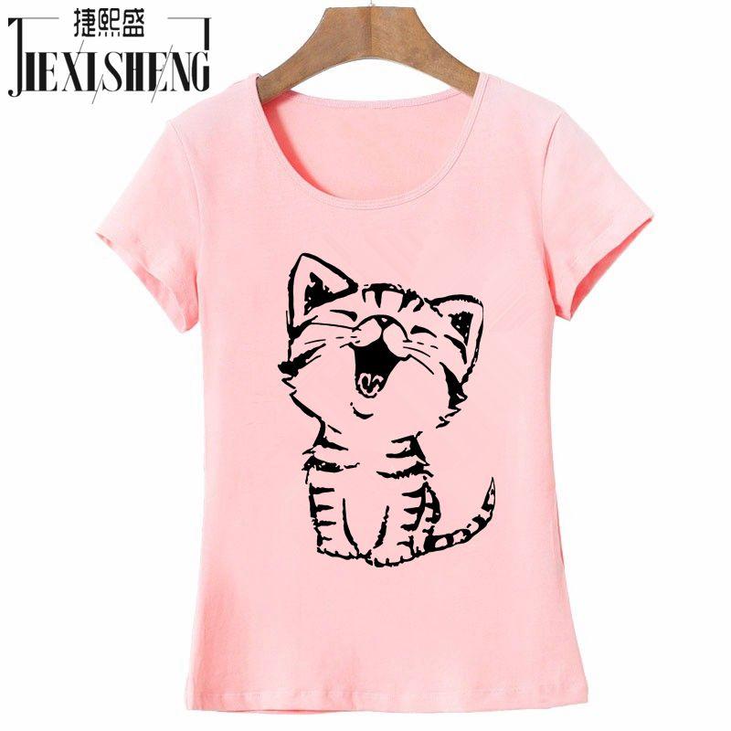 קיץ חדש אופנה נשים מזדמן O-צוואר חולצות Camisas עם מצחיק חתול הדפסת וקצר שרוול HH08