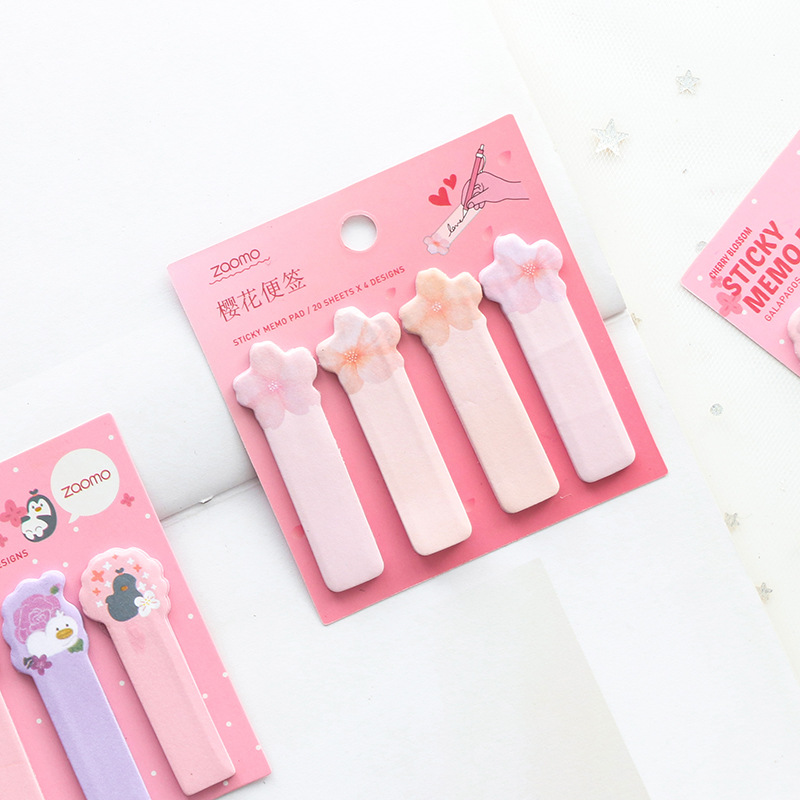 Cute Kawaii Cherry Blossom Memo Pad Plaids&lines Sticky Notes Index Posted It Planner Stickers Notepads Office School Supplies
