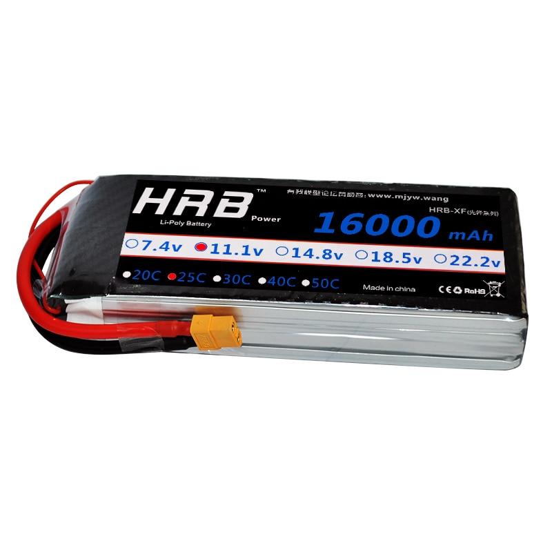 HRB Drone Lipo 16000MAH batería de la batería 2S 3S 4S 5S 6S 7,4 V 11,1 V 14,8 V 18,5 V 22,2 V 25C Max 50C para helicóptero máquina de protección de plantas-in Partes y accesorios from Juguetes y pasatiempos    3