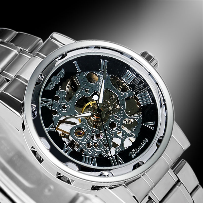 2016 new stainless steel stylish wrist watch classic mechanical self wind dress skeleton wristwatch font b
