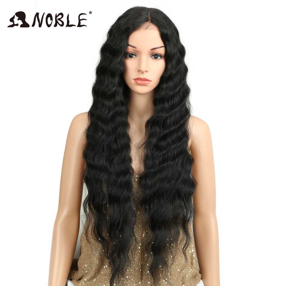 Благородный длинный черный парик глубокая волна высокая температура волокна средняя часть 30 дюймов 150% Тяжелая плотность кружева спереди синтетические парики для женщин