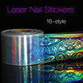 New Nail Art Laser Stickers Colorful Foils Template Stencil Stickers Vinyl Image Polish Manicure Christmas Gift 2017 Nail Beauty