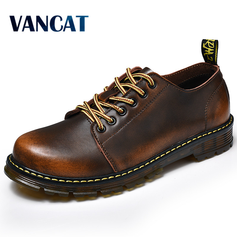 VANCAT Men Genuine Leather Casual Shoes Leather Brand Men Shoes Work Safety Boots Designer Men Flats Men Work & Safety Shoes cbjsho brand men shoes 2017 new genuine leather moccasins comfortable men loafers luxury men s flats men casual shoes