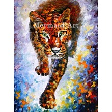 Hand Painted Landscape High Quality Abstract Palette Knife Snow Leopard Oil Painting Canvas Wall Decoration Living Room