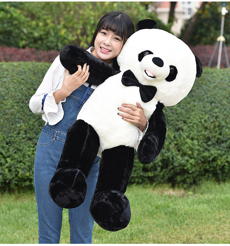 big new plush bow panda toy high quality lovely panda doll gift about 120cm 2709 one piece huge plush simulation black killer whale toy new whale pillow doll gift about 120cm