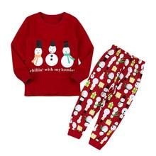 Модная детская одежда красного цвета для маленьких девочек; рождественские топы с надписью «Снеговик» и штаны; комплект одежды; Лидер продаж года; Прямая поставка; ST27