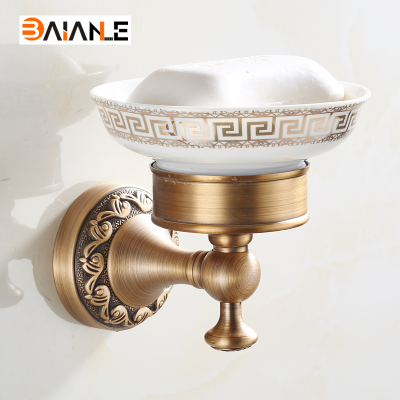 Wall Mounted Soap Dishes carving Antique Brass Porcelain Brass Soap Bathroom Accessories wall mounted brass