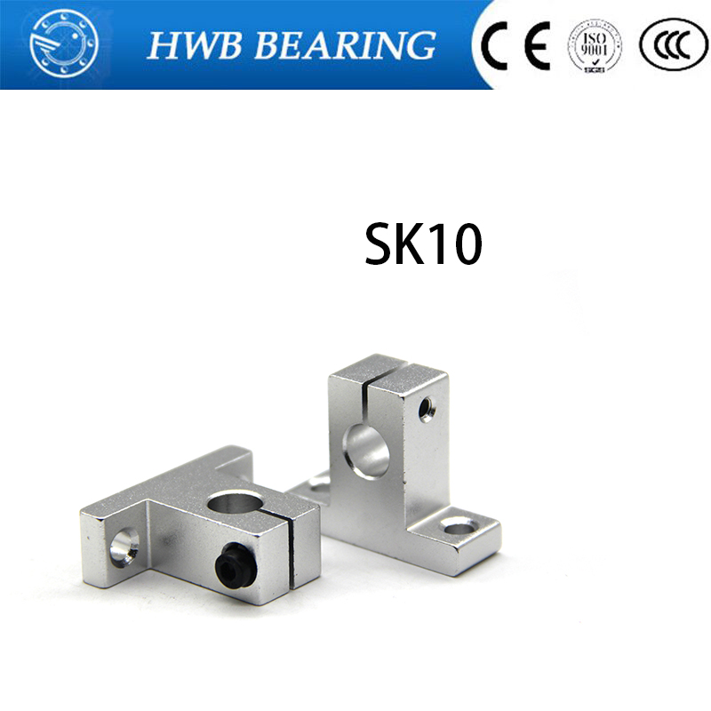 4pcs/lot Free Shipping SK10 10mm linear bearing rail shaft support Table CNC Router SH10A ...