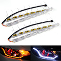Sequential Flow Style Car Flexible White/Amber Switchback LED DRL Daytime Running Light with Turn Signal Lights 2016 Car Styling