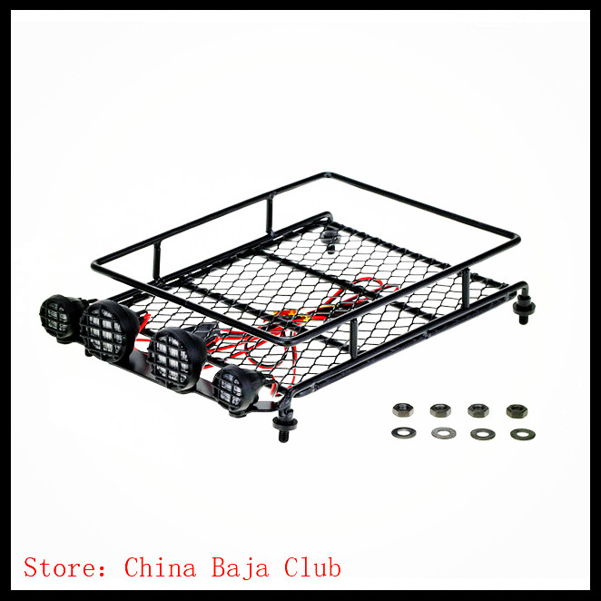 RC 1:10 Roof Luggage Rack LED Light Bar Wrangler Tamiya