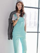 6652e269941 Kawaii Sweet College Korean Teenager Lolita Candy Color Denim Jumpsuits  Slim Strap Rompers Button Pocket Jean