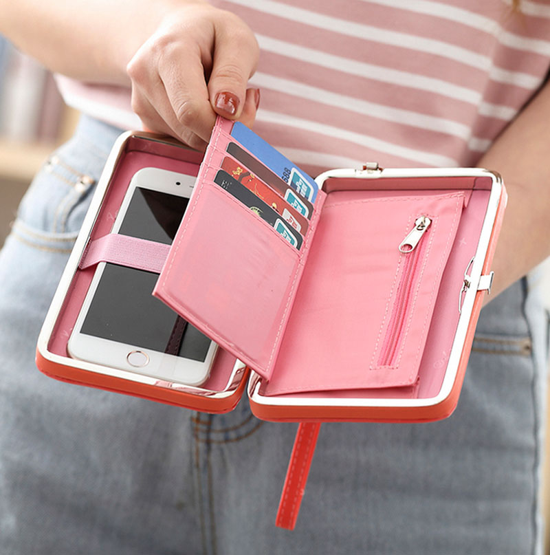 Women's Wallet Purse Large Capacity PU Leather Long Wallets Clutch Fashion Cell Phone Bag carteira for Teenager Girls trendy pu leather pouch bag for cell phone gadgets black