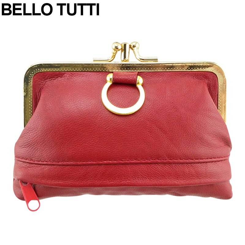 BELLO TUTTI Genuine Leather Mini Coin Purse For Womens Metal Kiss Lock Female Mini Wallet Sheepskin Change Purse
