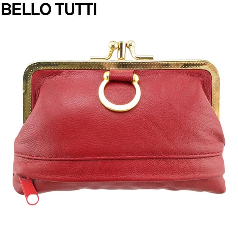 BELLO TUTTI Genuine Leather Mini Coin Purse For Womens Metal Kiss Lock Female Mini Wallet Sheepskin Change Purse