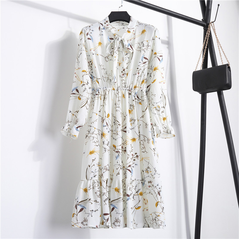 Summer Korean Chiffon Women Dress Elegant Ladies Vintage Long Dress Boho Floral Office Long Sleeve Vestidos Clothing 5LYQ003 26