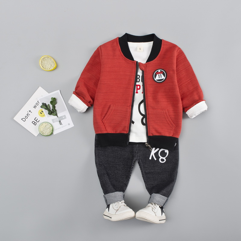 Spring Children Clothing 3pcs Solid Jacket Autumn Toddler Boys Clothes Sets Outwear Coat+Shirt+Pants Kid Sport Boy Suit Set 1-3T