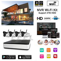 Home Surveillance Camera System 4CH Wireless Full HD Video NVR 4pcs Outdoor IR Night Onvif Remote