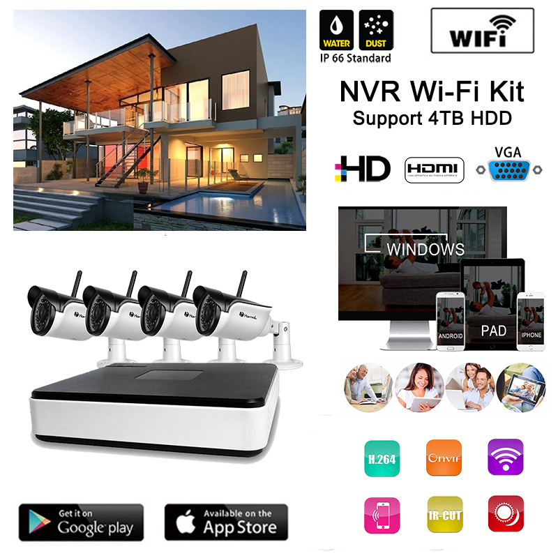 Home surveillance Camera system 4CH Wireless Full HD Video NVR 4pcs outdoor IR night Onvif Remote view Wifi Camera WIFI NVR kit