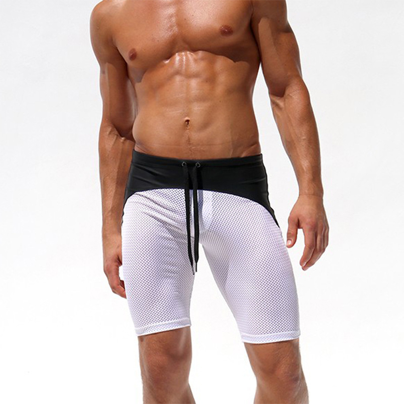 Mens mesh Swimming Trunks Sexy Sports Fitness Pants Color Mixed Quick-drying Beach Shorts Pants hot sell boxers