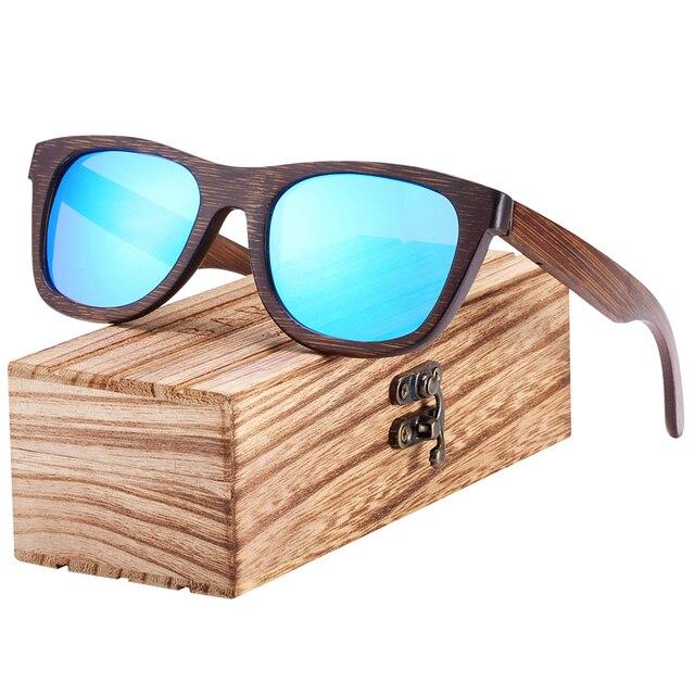 Gafas de sol de madera de bambú marrón UV400 2