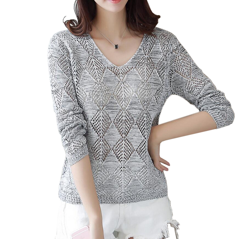 2019 Autumn Winter Women Sweater V Neck Lace Knitted Pullover Female Casual Knitwear Long Sleeve Pull Femme ZY09