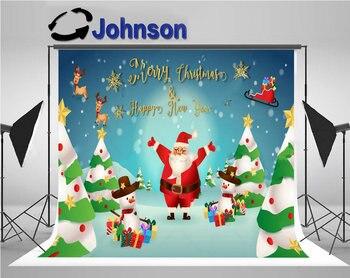 Fondo de fiesta divertido Navidad Santa lindo dibujo ciervo árbol brillo dorado copos de nieve foto impresión ordenador