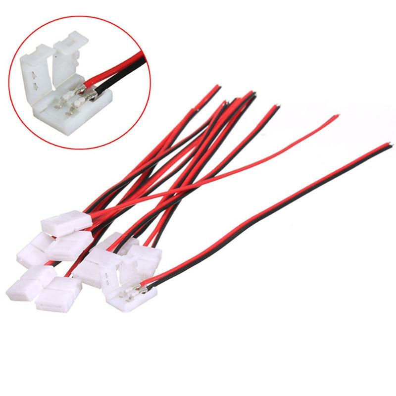 Wholesale 10Pcs PCB Cable 2 Pin LED Strip Connectors 3528/5050 8m/10mm Width PCB Ribbon Single Color Adapter