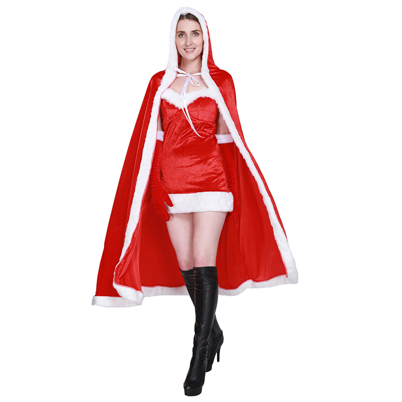 Christmas Red Cloak Cape Adult Women Hooded Cloak Costume Cosplay Mrs Santa Clause Carnival Party Velvet Blend Cape For Ladies