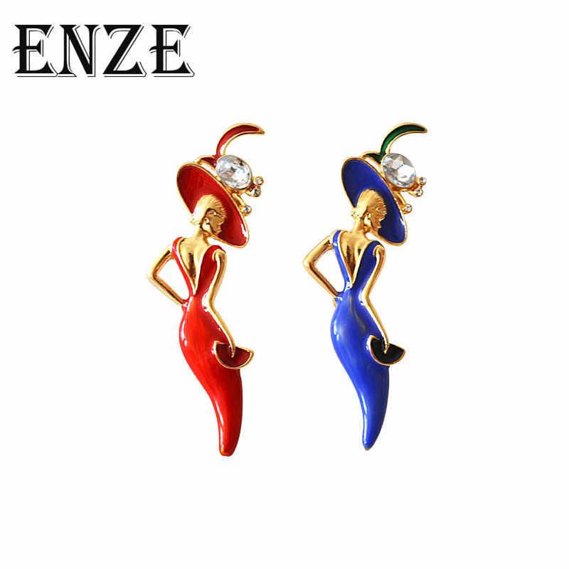 Enze Baru Biru Merah Putri Duyung Bros Pria Wanita Pasangan Leher Pin Aksesori Tas Lencana Hadiah Ulang Tahun Pesta Perhiasan