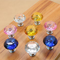 Transparent Crystal Glass Diamond Handle Drawer K9 Single Hole Round Zinc Alloy 40MM 10 PIC Per Bag Mounted Diamond Hooks