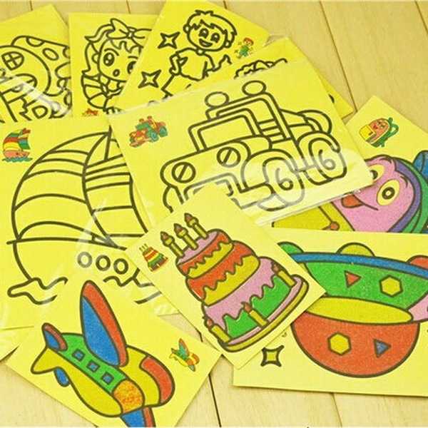 17 12cm kids 5 colors cartoon sand art painting kits diy colored