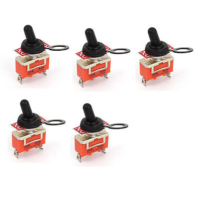 5pcs AC 250V 15A ON-OFF-ON 2 Way 3 Terminals SPST Toggle Switch w Cover Cap