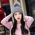 real Fox fur ponpon hats women winter pompon caps fox fur fluffy pompom Kigurumi Fur pumpon Beanie female mink knitted caps