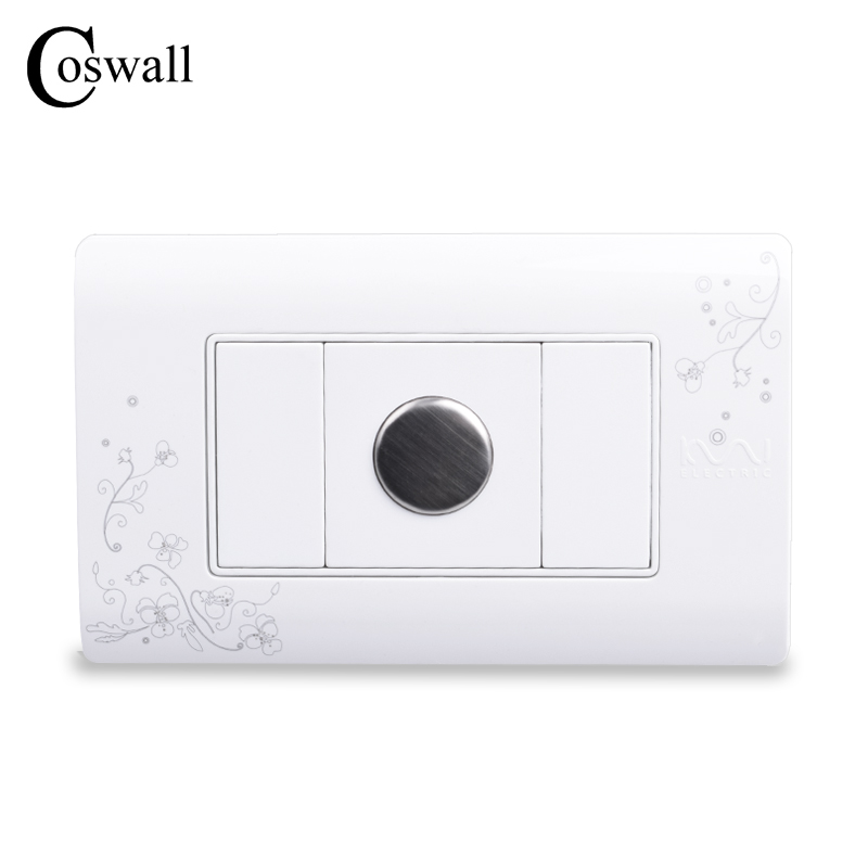COSWALL Simple Style Touch Time Delay Wall Switch Ivory White 114mm*70mm AC 110~250V voice control switch two wire system wall mount sound activated and light snesor switch with 30s time delay ac 110 250v