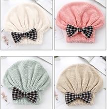 Coral Fleece Shower Cap Dry Hair Bath Bonnet sauna Hat Super