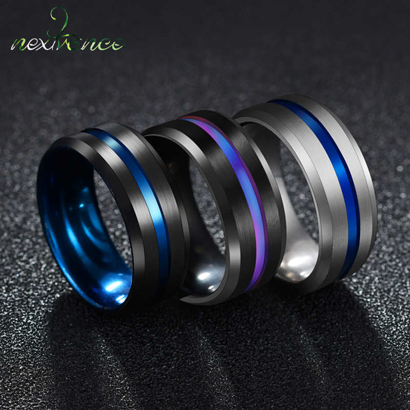Nextvance Trendy 8MM Stainless Steel Black Blue Groove Ring For Men Wedding Bands Rainbow Rings Male Jewelry Drop shipping