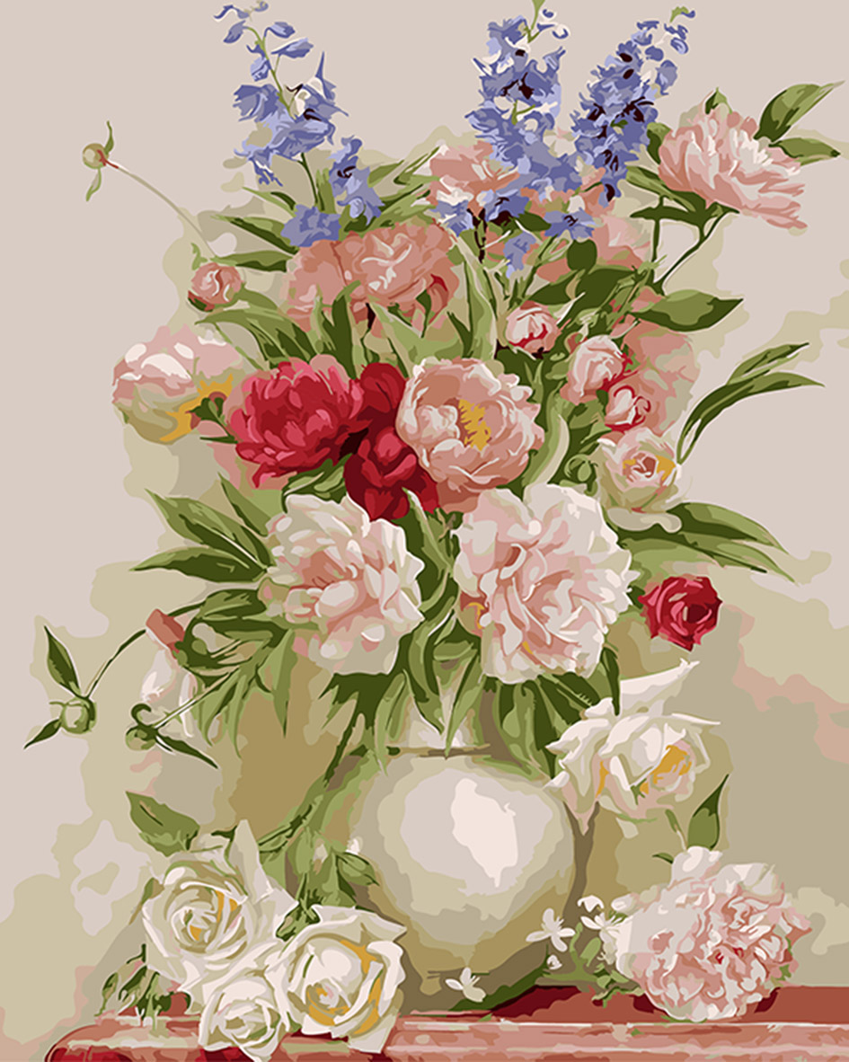 Flower and vase painting by numbers diy modern digital for Diy flower canvas wall art
