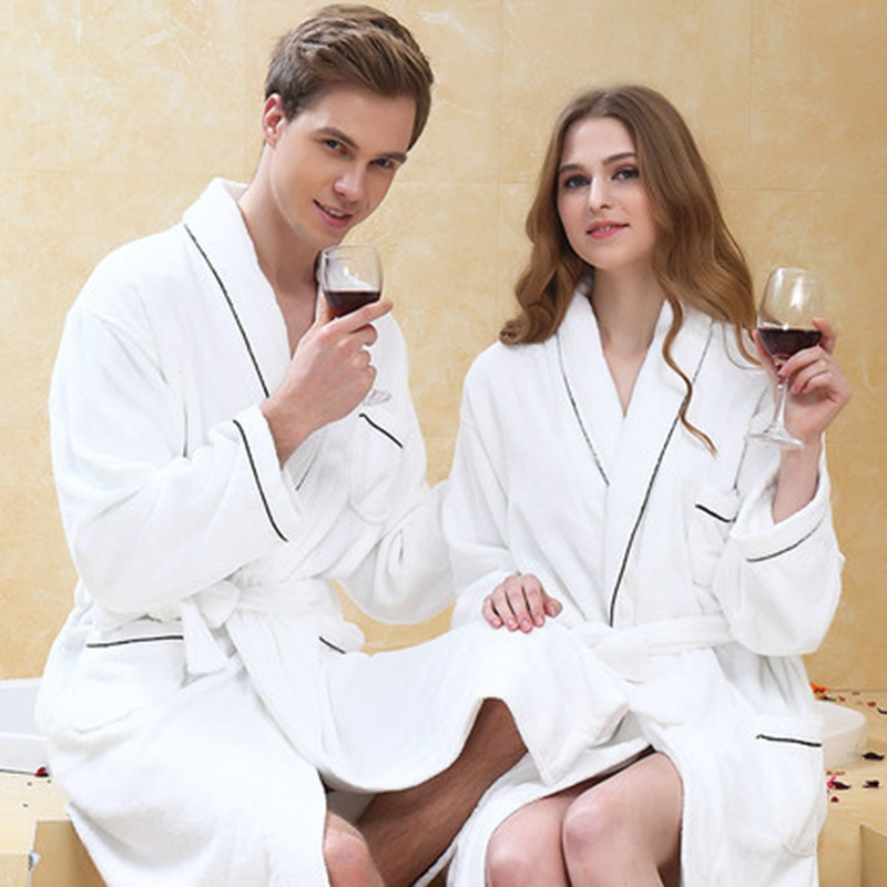 Thicken Bathrobe Men Plus Size XXL Towel Fleece Winter White Nightgown Long Men Women Sleepwear Robe Homewear Pajamas Home