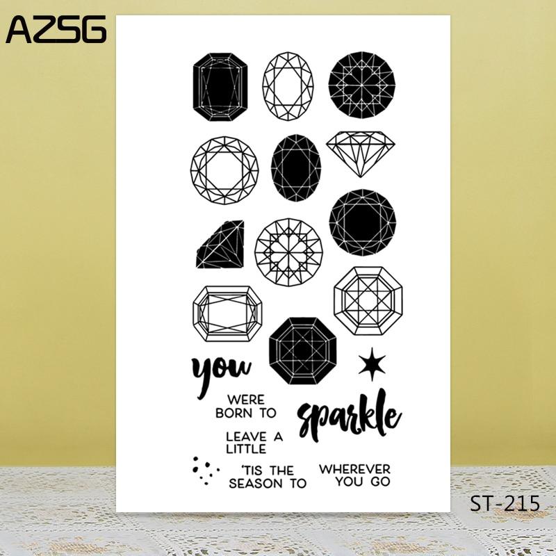 AZSG Resplandecente Jewels Diamantes Claro Selos/Selos Para DIY Fazer Scrapbooking/Cartão/Album Decorativa Artesanato Selo de Silicone