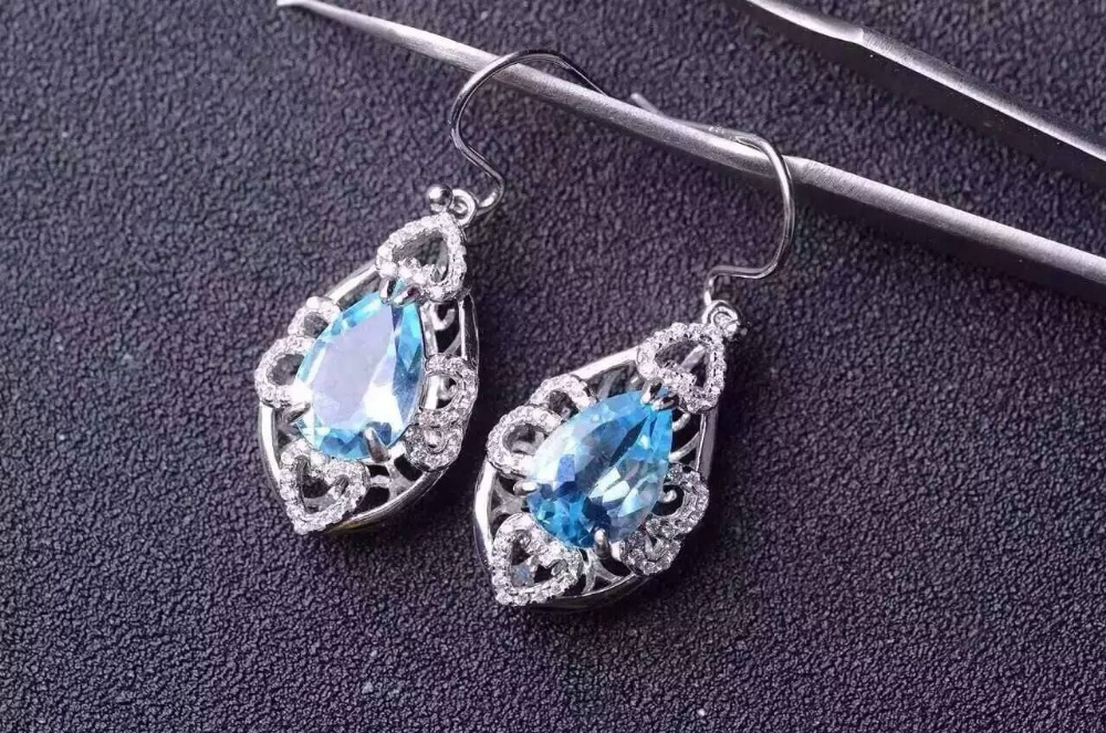 natural blue topaz stone drop earrings 925 silver Natural gemstone earring women personality Elegant water drop Earrings natural stone geometry drop earrings page 9