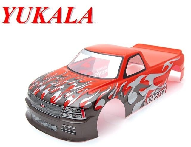 YUKALA 1/10 RC Car PVC Painted Body Shell 1/10 RC Car Pick Up Truck Width 190mm Wheelbase:260mm  NO:S029red/green