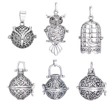 1Pc Antique Silver Pregnant Music Ball Box Hollow Cage Lockt Pendants For DIY Making Essential Oil Floating Locket Necklace(China)