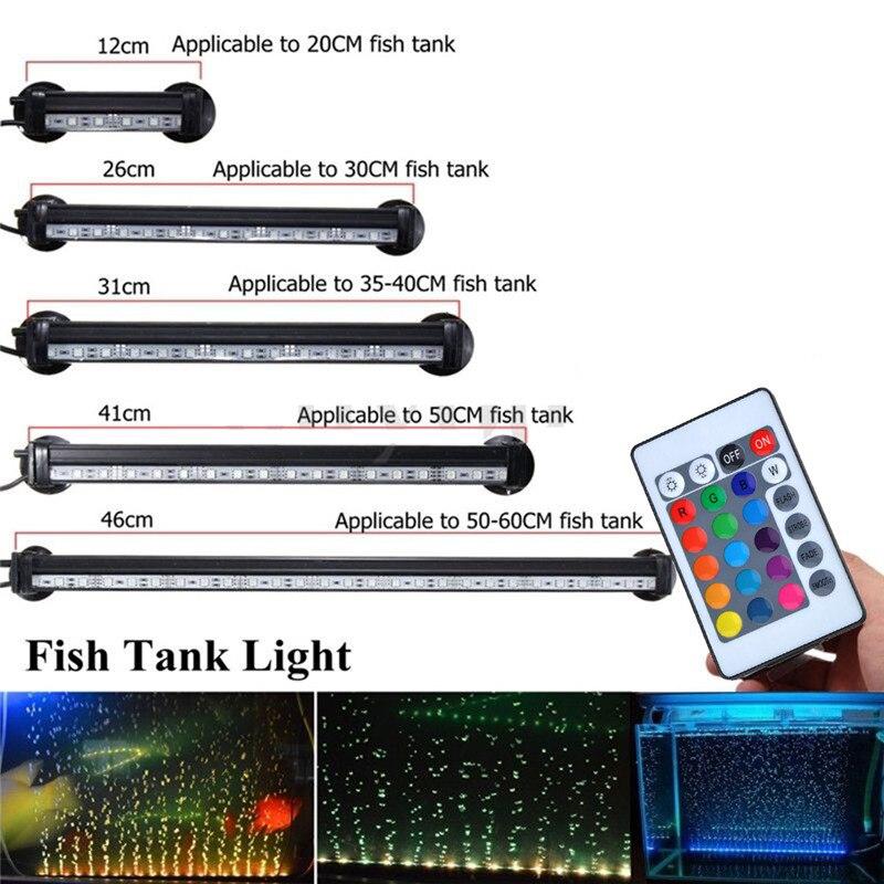 5050 RGB LED Aquarium Light Submersible Air Bubble Lamp Fish Tank Color Changing Light Remote Control EU/ US Plug