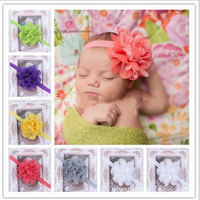 10 pcs/lot wholsesale vente chaude bébé enfants tête de fleur gaze fleurs stretch bébé bande de cheveux 15 couleurs spot