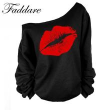 Red White Lips Offset Print Women Tops Long Sleeve Loose Fit Tee Shirts Plus Size Women Clothing 2017 Spring Blusas Sweatshirt(China)