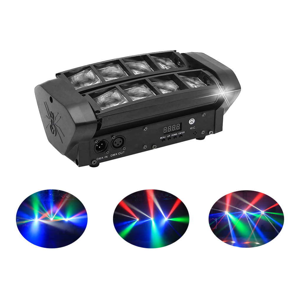 Fase DMX512 8X10 W Mini Aranha LEVOU Luz LEVOU Luz Em Movimento Da Cabeça RGBW LED Feixe de luz Clube Dj projetor discoteca